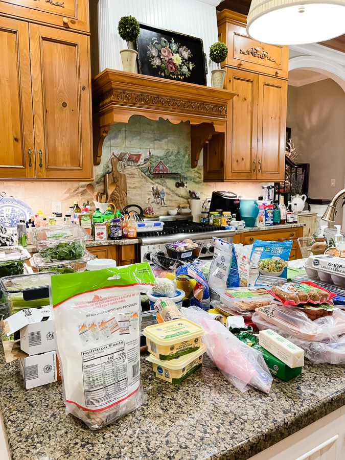 food on counters
