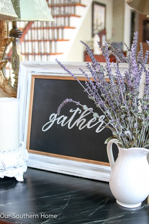 Join us each month for thrift store decor makeovers from 6 TOP bloggers. This month I'm sharing my GATHER chalkboard art makeover.