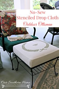 No Sew Stenciled Drop Cloth Ottoman