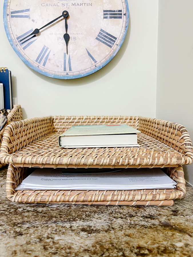 letter tray with book