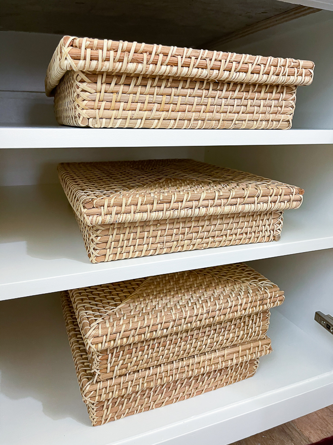 baskets in a cabinet