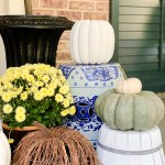 painted basket with fall decor