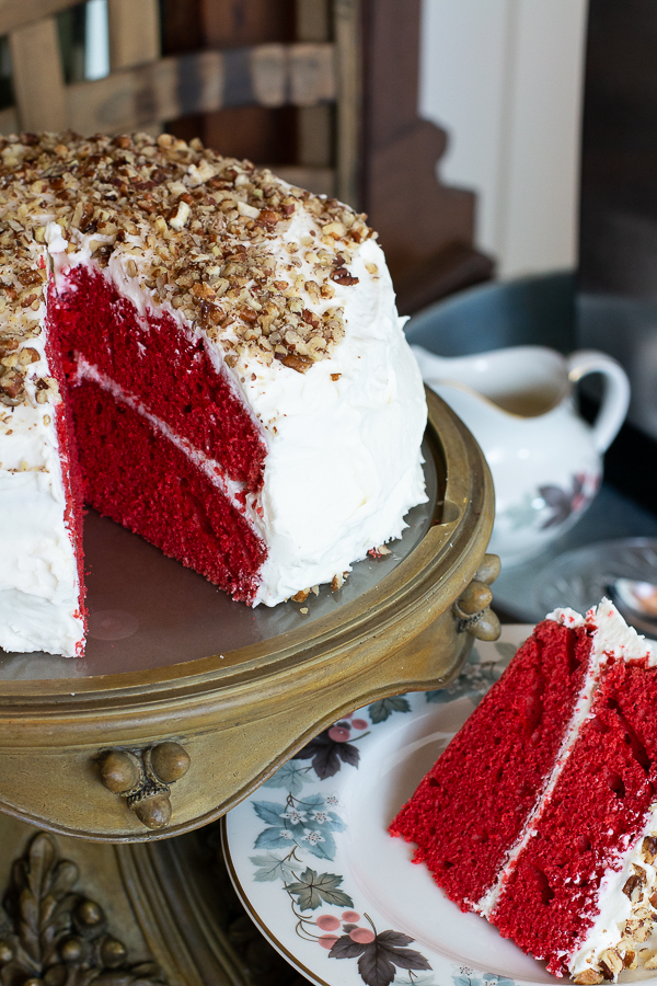 red velvet cake sliced
