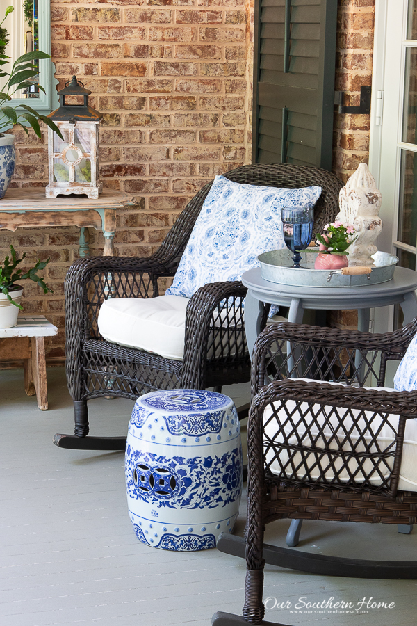 summer front porch with rockers