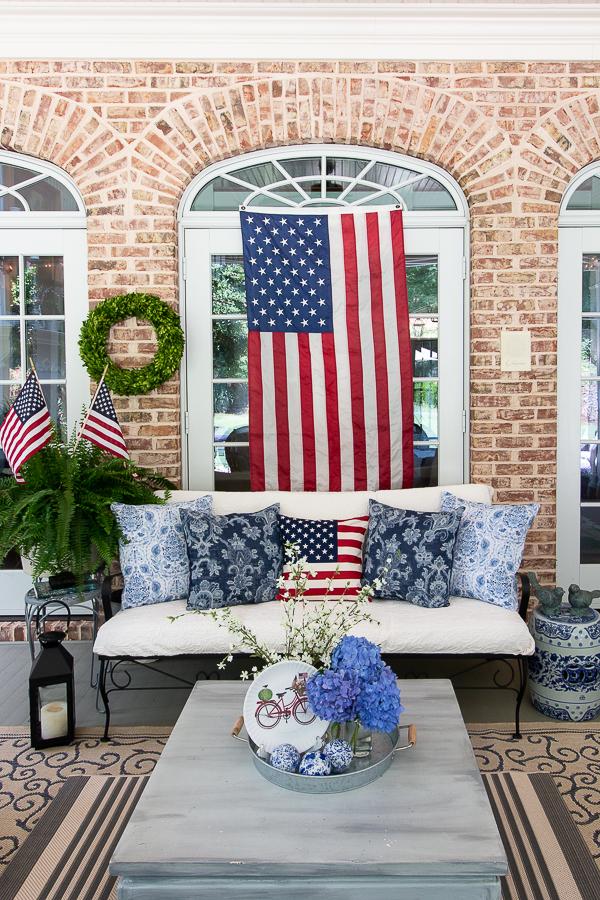 patriotic screened porch