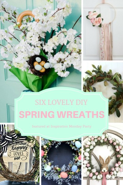 Six spring wreaths are the features from this week's Inspiration Monday Link Party!