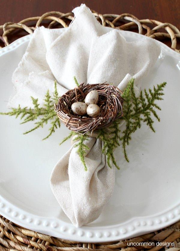 birds nest napkin ring