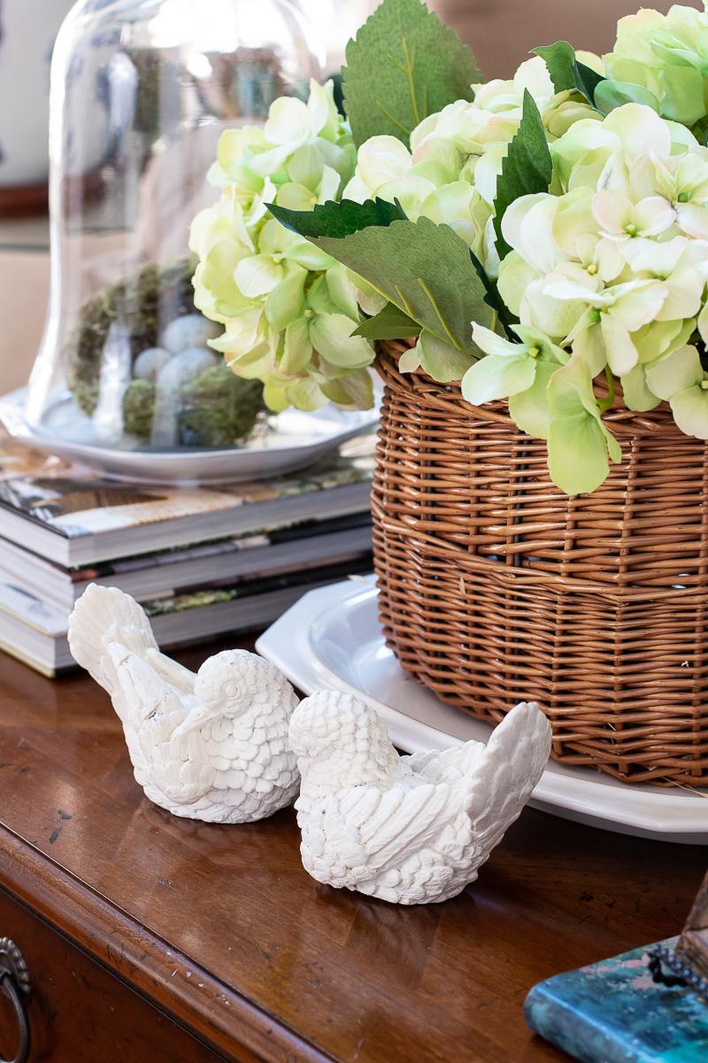 white birds on table