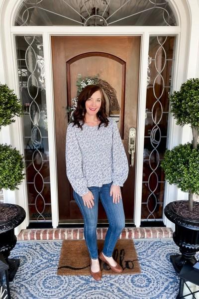 woman at front door