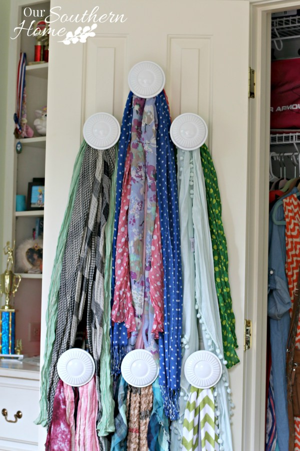 Scarf Organizer made with thrift store valance hardware for #SwapItLikeItsHot by Our Southern Home