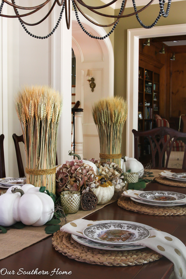 Creating a woodland tablescape for fall by Our Southern Home #falltable #falldecor #falltablescape