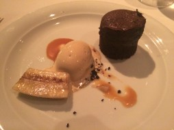 Chocolate Lava Cake with caramelized banks, caramel and coffee ice cream