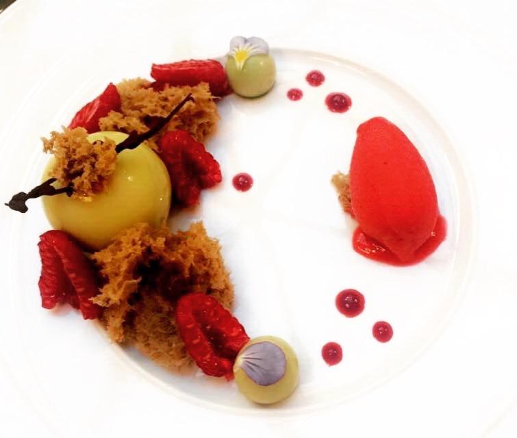Pistachio Mousse with Raspberries Sorbet