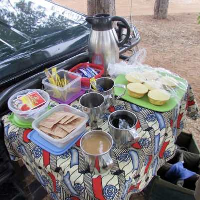 game drive snacks and coffee