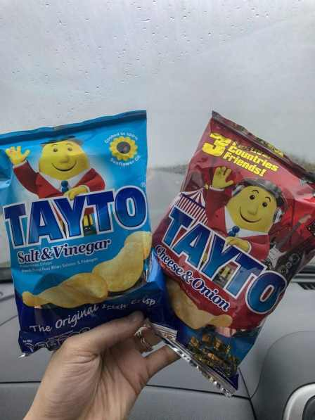 Tayto chips are an essential snack for an Ireland road trip!