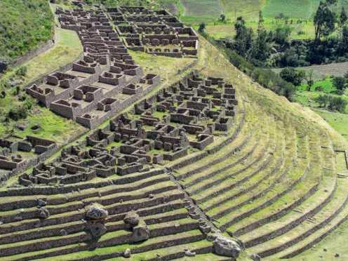 View of the Llactapata Ruins along the Inca trail