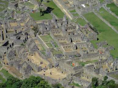 Close up photos of Machu Picchu from the top of Huayna Picchu