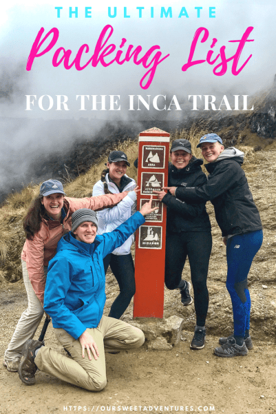 Check out our ultimate Packing list for hiking the Inca trail. It is your one stop shop for everything you need when packing for the Inca trail. #Packing #IncaTrail #MachuPicchu #Guide #Hiking