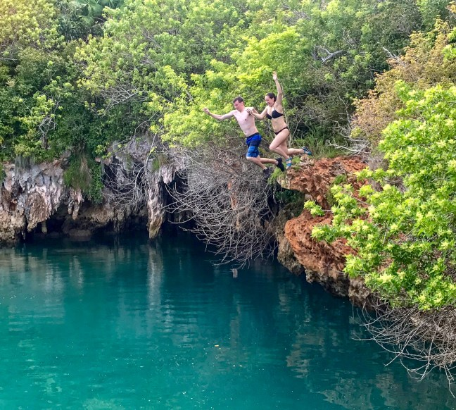 Cliff jumping at Blue Hole Park in Bermuda!