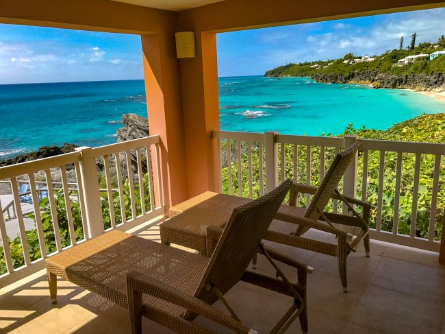 Amazing patio from our Junior Suite at The Reefs Resort & Club in Bermuda