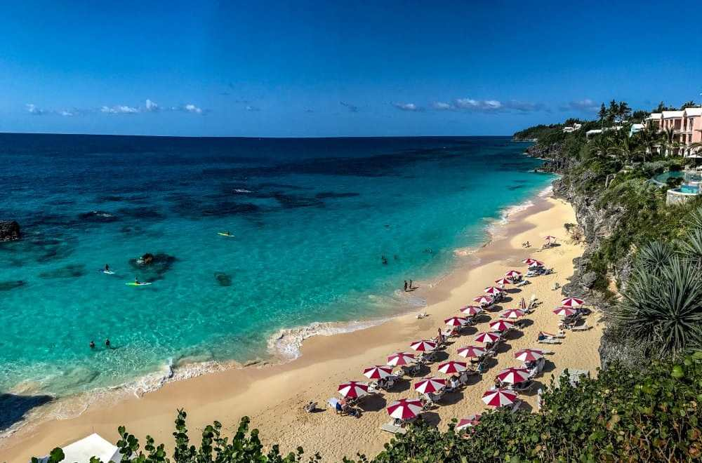 Beautiful views of the Atlantic Ocean from The Reefs Resort & Club's terrace in Bermuda