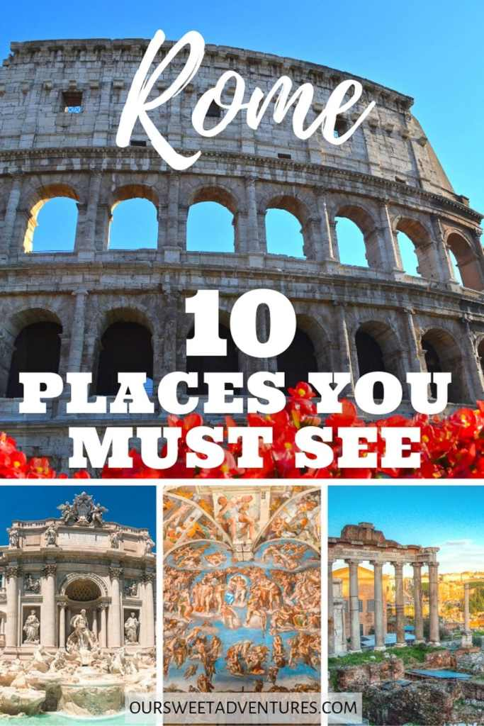 "A photo collage of the Colosseum, Trevi Fountain, Sistine Chapel, and Roman Forum with text overlay ""Rome 10 Places You Must See""."