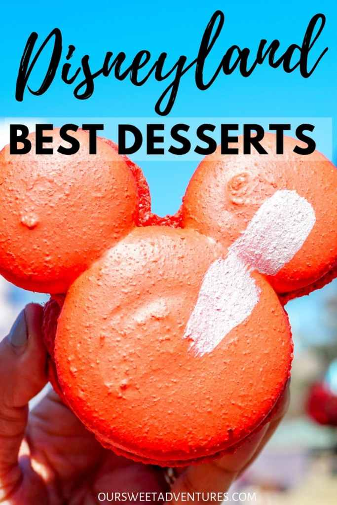 """A huge red macaron cookie in the shape of Mickey Mouse's head with text overlay """"Disneyland Best Desserts"""""""