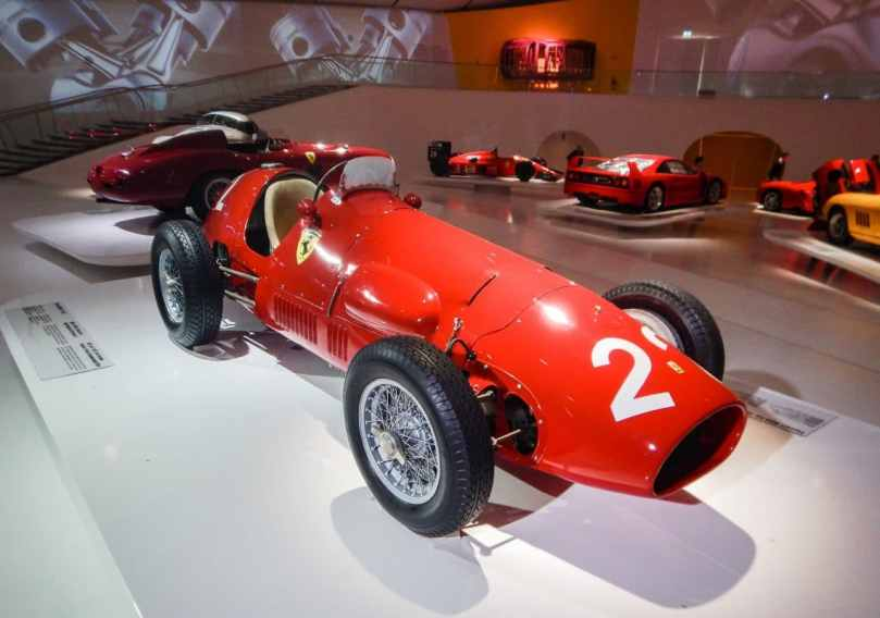 A late 50s Ferrari car on display inside the Enzo Ferrari Museum in Modena, Italy.