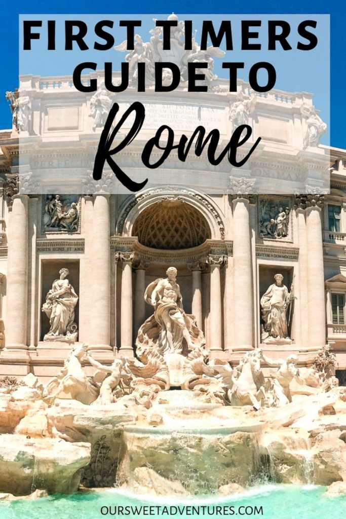 "A bright photo of the sculptures at the Trevi Fountain with text overlay ""First Timers Guide to Rome""."