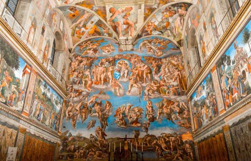 A photo of the painting on the ceiling and walls inside Sistine Chapel. Such vibrant use of colors to make one of the most glorious paintings of all time. Definitely a sight you cannot miss in Rome and Vatican City.