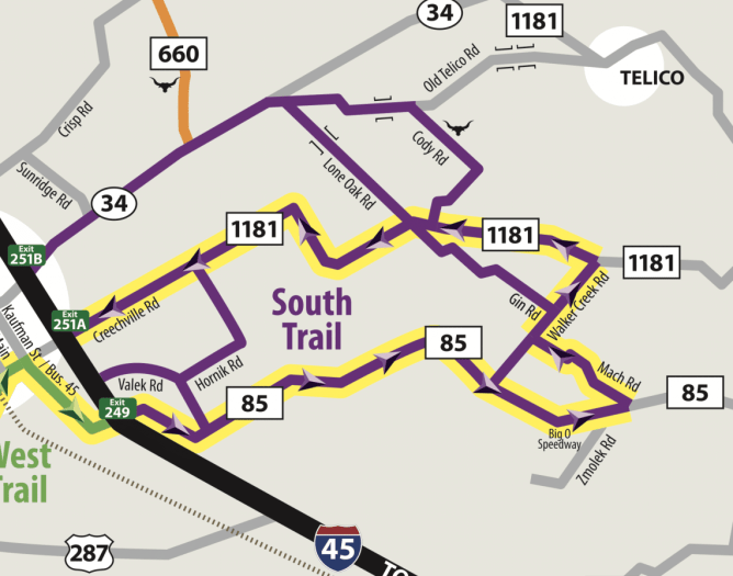A map of the south trail on the Ennis Bluebonnet Trail.