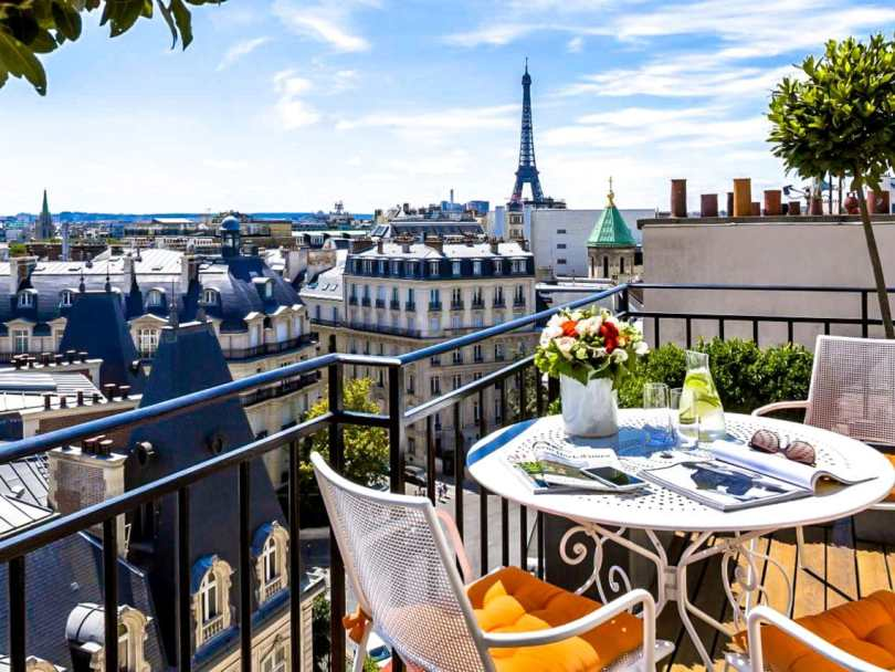 View of Eiffel Tower from the balcony of San Regis Hotel