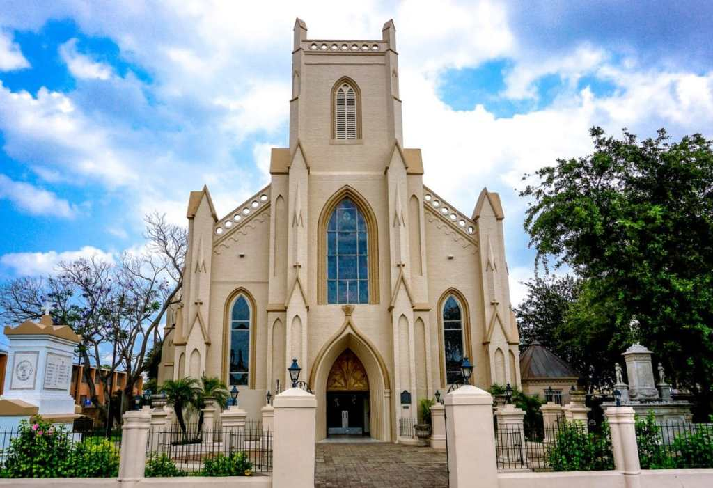 A tall and majestic cathedral located in Downtown Brownsville.