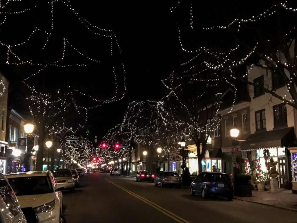 Kings Street decorated with lights in the trees to create a winter wonderland.