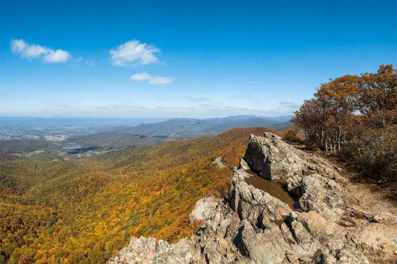One of the best things to do in Washington D.C. in the fall is to go hiking and see the fall foliage. as shown in this picture a dramatic landscape of a mountain range covered in vibrant orange and yellow trees.
