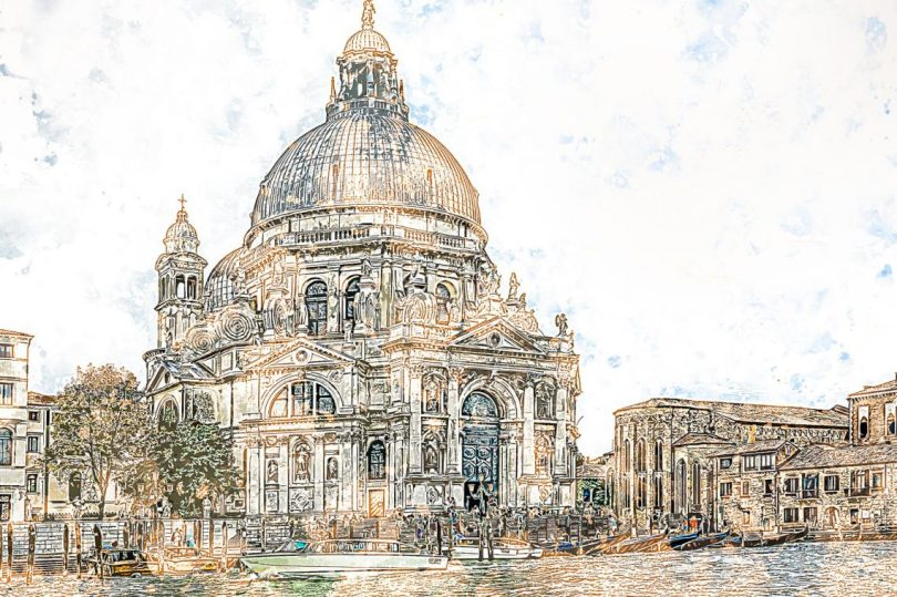 A beautiful hand drawing of a cathedral in Venice to save a travel memory.