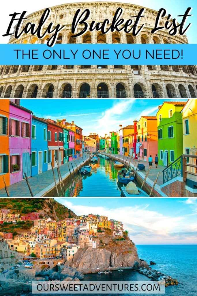 """A collage of three photos. The top photo is the Colosseum. The middle photo is Burano with colorful houses. The bottom photo is Cinque Terre along the coast. Text overlay """"Italy Bucket List the only one you need""""."""
