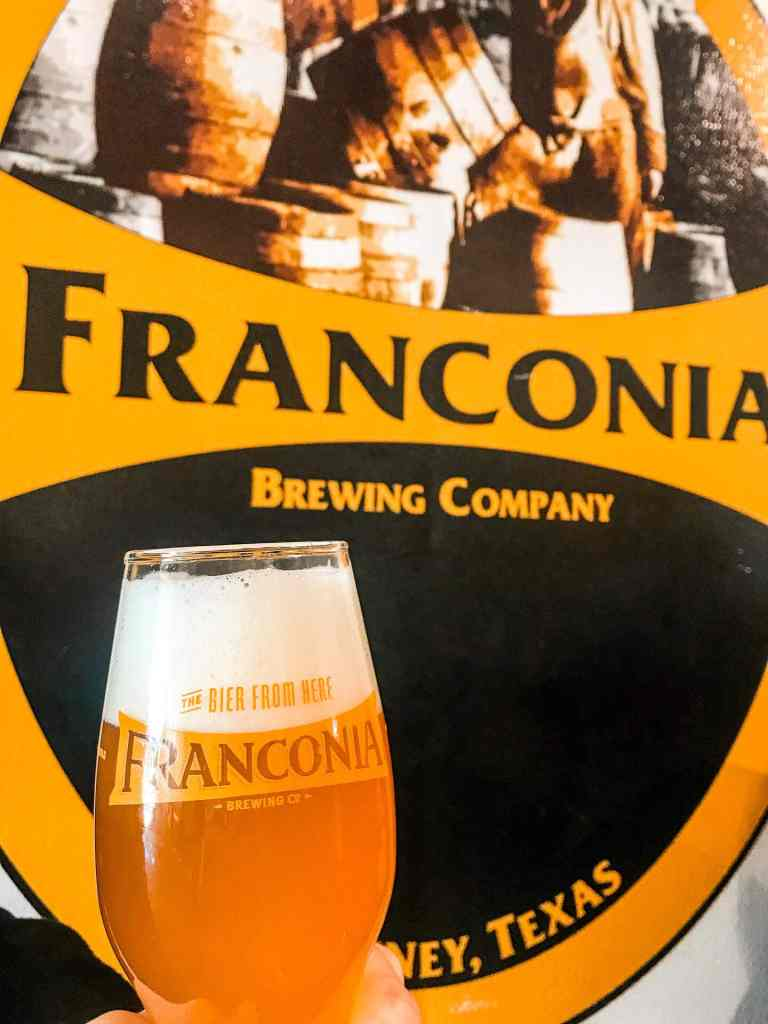 A glass of beer from Franconia Brewing Company.