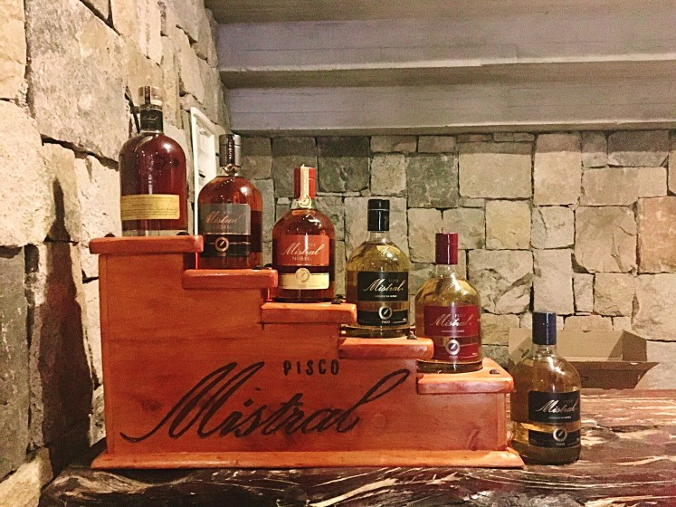 Local Pisco from the famous Mistral distillery