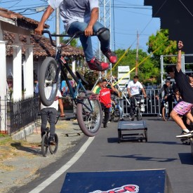 Ramps were built on street for BMX contest