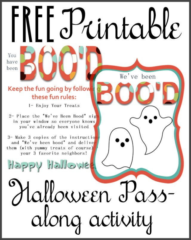 "This is so much cuter than the typical ones that go around. Free ""you've been boo'd"" printable."