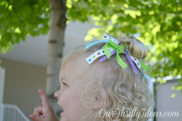 DIY Scrap Ribbon Hair Bow Tutorial from OurThriftyIdeas.com