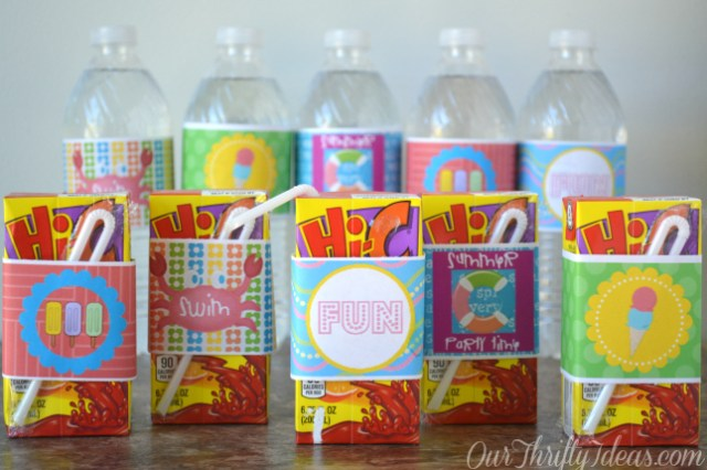 Summer themed water bottle wrapers. Free printable from OurThriftyIdeas.com