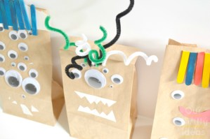 {Crafting w/ kids} Paper Bag Monsters