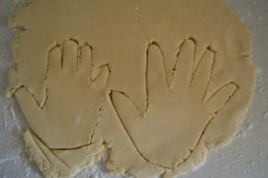 Sugar cookies in the shape of a hand for turkey treats