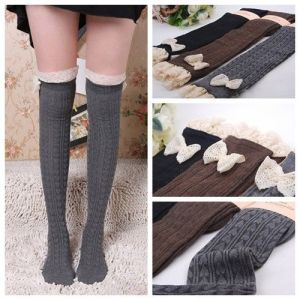 Lady Crochet Bow Lace Trim Knit Leg Warmer Boot Socks Knee High Winter Legging for $4.99 ($1.79 shipping)