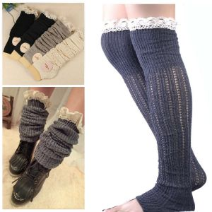 cotton knit leg warmers boot socks knee high