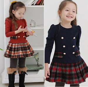 plaid and button toddler holiday dress