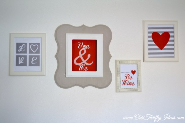 4 coordinating valentine printables that are free from OurThriftyIdeas | #valentine #printable #decor #art