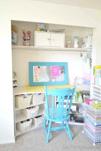 craft room inside a closet tutorial